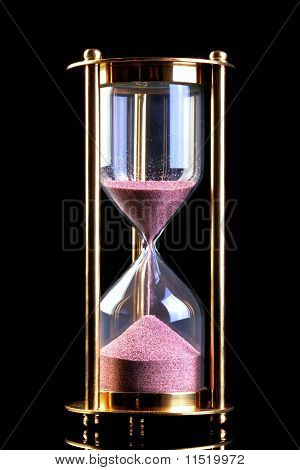 Hourglass Sand Timer On Black