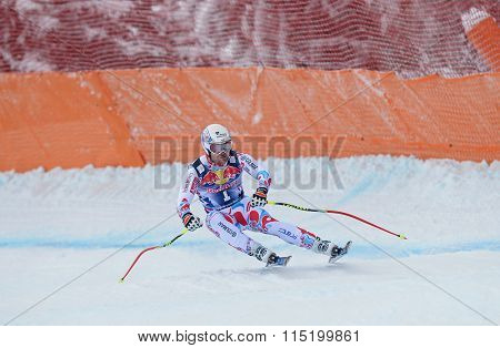 KITZBUHEL, AUSTRIA - JANUARY 25 2014:   Competing on Hahnenkamm Course during the Audi FIS Alpine Ski World Cup Downhill race in Kitzbuhel, Austria.
