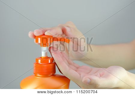 Orange Shampoo Bottle