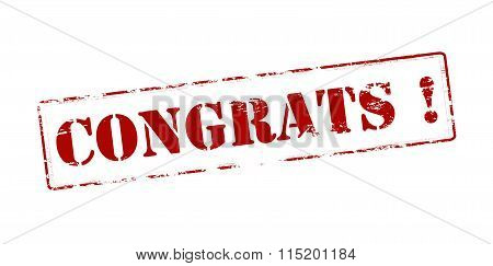 Rubber stamp with word congrats inside vector illustration