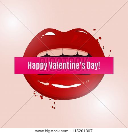 Happy Valentine's Day Vector Illustration, Red Seductive Lips Holding A Banner On Light Background