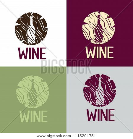 Wine Bootle In Wooden Log