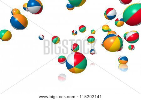 Beach balls bouncing on white background