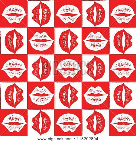 Seamless red lips pattern.