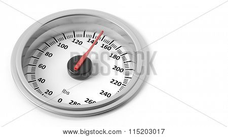 Bathroom scale dial in pounds, isolated on white background.