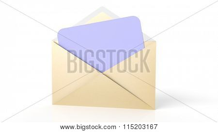 Open yellow envelope with blank purple paper sheet, isolated on white.