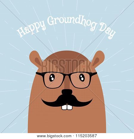 Happy Groundhog Day Vector Card