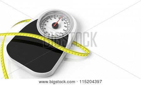 Bathroom scale with measuring tape, isolated on white background.