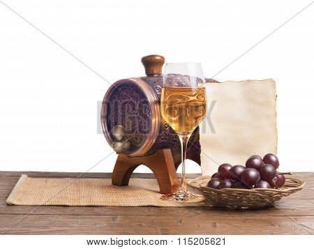 Old Paper For Text, Glass Of Wine, Barrels On A White Background