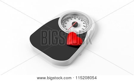 Bathroom scale with heart icon, isolated on white background.