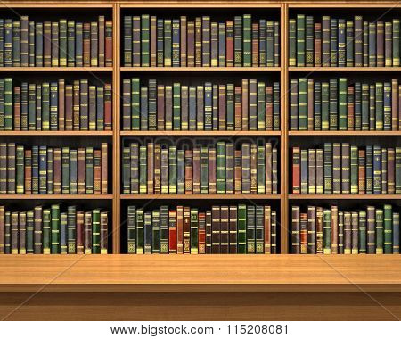 Table On Background Of Bookshelf Full Of Book . Old Library.