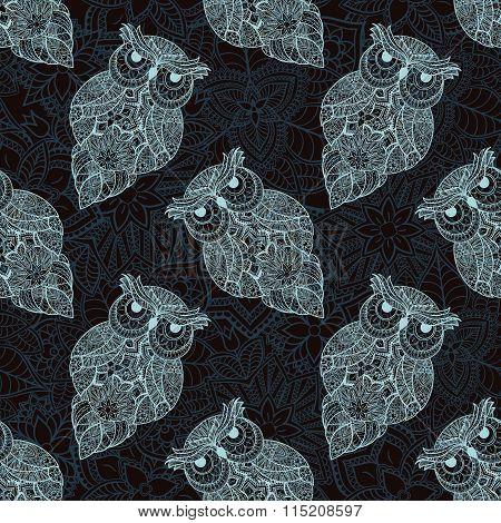 Vector illustration of ornamental owl. Bird illustrated in tribal.
