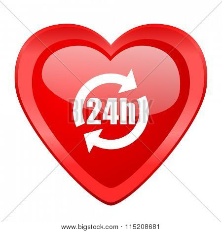24h red heart valentine glossy web icon