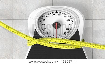 Bathroom scale with measuring tape squeezing it, closeup on bathroom floor.