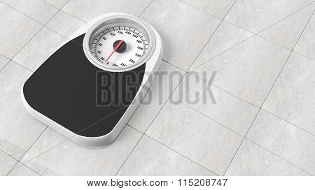 Bathroom scale in pounds, on bathroom floor
