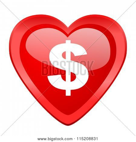 dollar red heart valentine glossy web icon