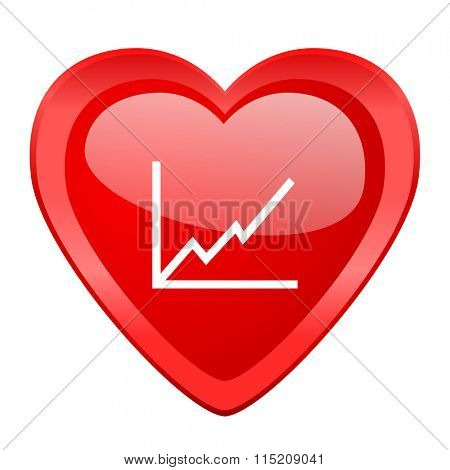 chart red heart valentine glossy web icon
