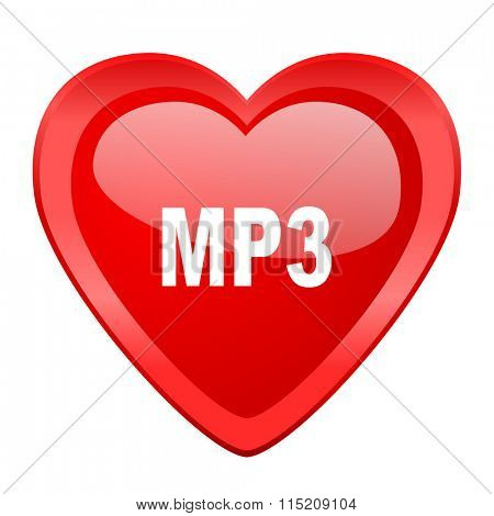 mp3 red heart valentine glossy web icon