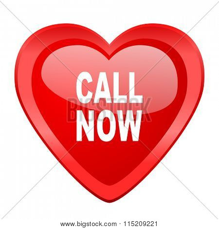 call now red heart valentine glossy web icon
