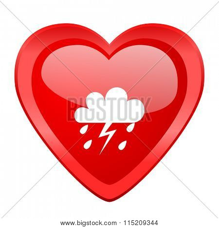 storm red heart valentine glossy web icon