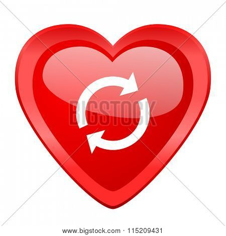 reload red heart valentine glossy web icon