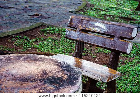Concrete Chair And Table In The Garden