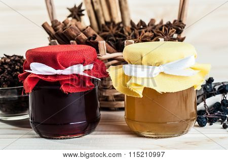 Jars Of Jam And Dry Spices