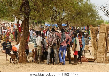Local People On The Market In The Town Of Konso, Ethiopia