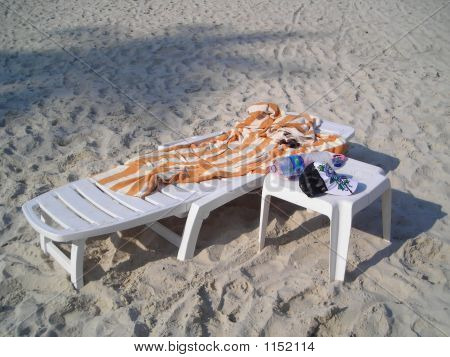 Single White Deck Chair - Life Is A Beach