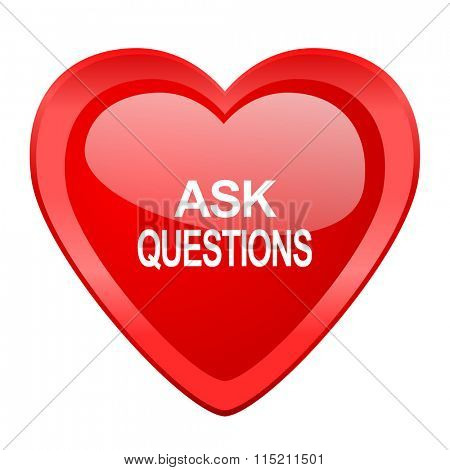 ask questions red heart valentine glossy web icon