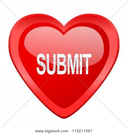 submit red heart valentine glossy web icon