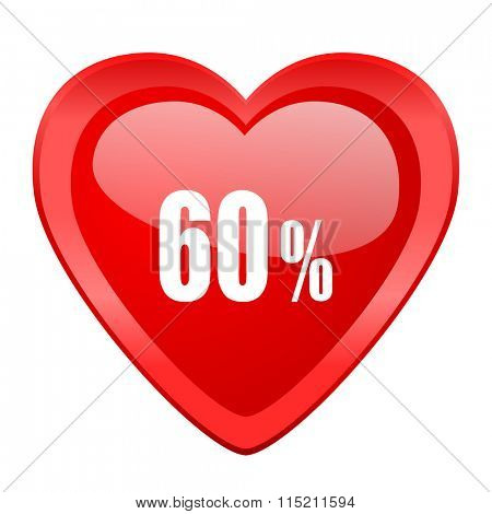60 percent red heart valentine glossy web icon