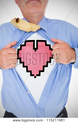 heart against man tearing his shirt