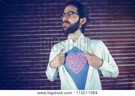 ich liebe dich against thoughtful man opening shirt in superhero style