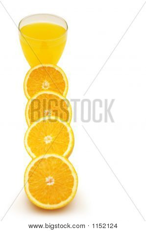Row Of Half Cut Oranges And Oranje Juice Isolated On White