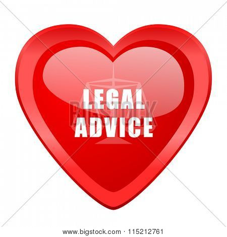 legal advice red heart valentine glossy web icon