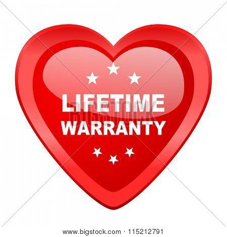 lifetime warranty red heart valentine glossy web icon