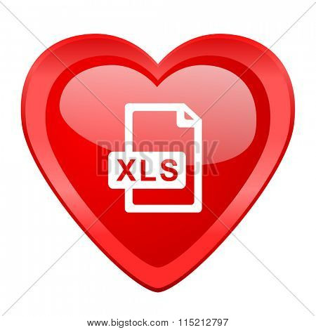 xls file red heart valentine glossy web icon