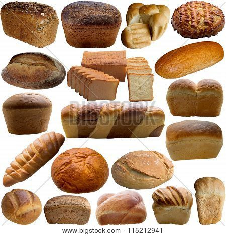 Variety Of Bread Isolated On White.