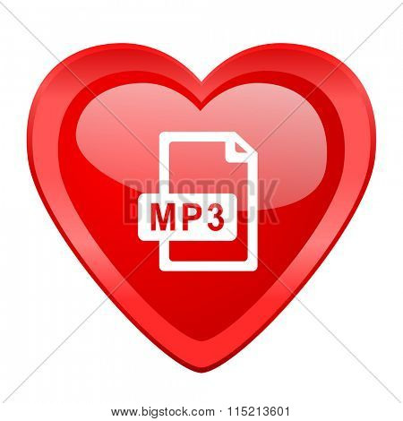 mp3 file red heart valentine glossy web icon