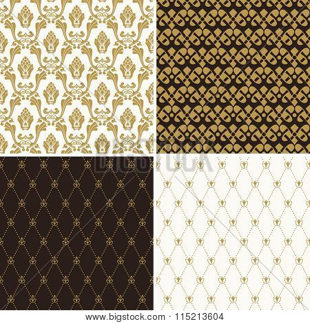 Seamless vintage floral background. royal gold and black pattern. Oriental design and baroque wallpaper set - Raster Copy