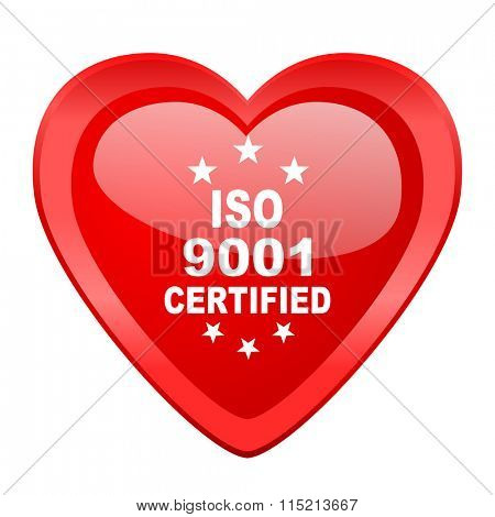 iso 9001 red heart valentine glossy web icon