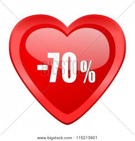 70 percent sale retail red heart valentine glossy web icon