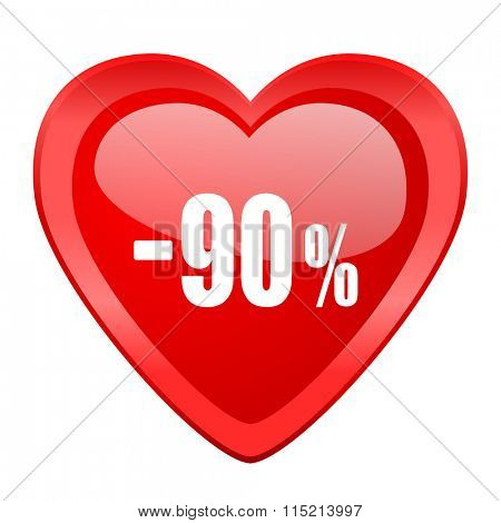 90 percent sale retail red heart valentine glossy web icon