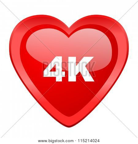 4k red heart valentine glossy web icon
