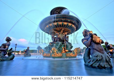 Fountain On Place De La Concorde, Paris, France
