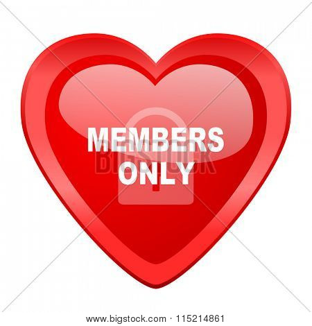 members only red heart valentine glossy web icon