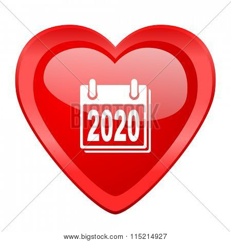 new year 2020 red heart valentine glossy web icon
