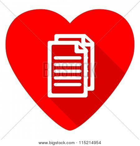 document red heart valentine flat icon