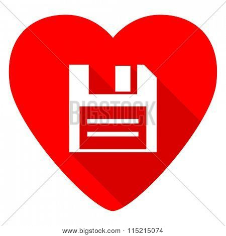 disk red heart valentine flat icon